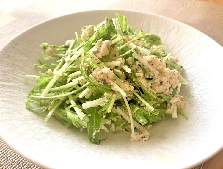 【大根菜ふりかけで】豆腐と水菜のサラダ