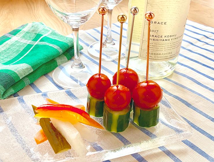 ワインに合うおつまみ【胡瓜の浅漬ピンチョスとスティックピクルス】