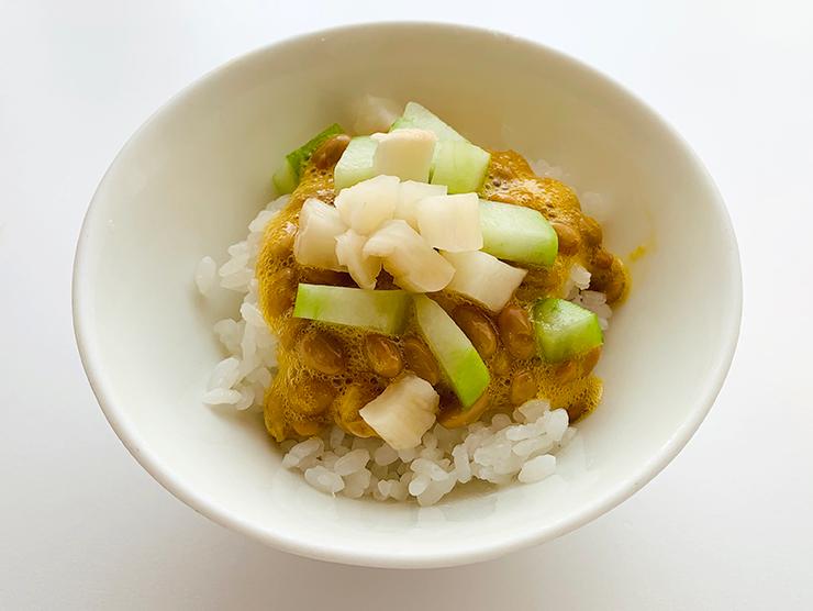 納豆たまごかけご飯・瓜の浅漬・梅酢しぼり大根バージョン